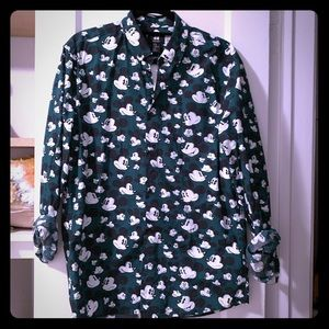 H&M Mickey Mouse Green Button-Up shirt